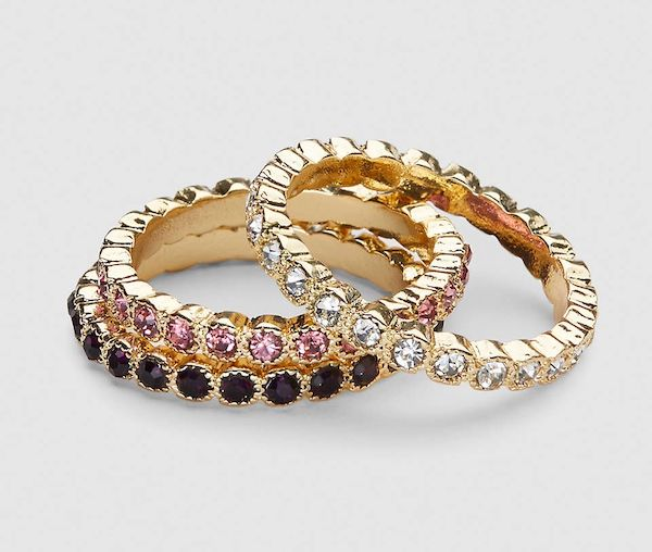 A plus-size set of jeweled rings.