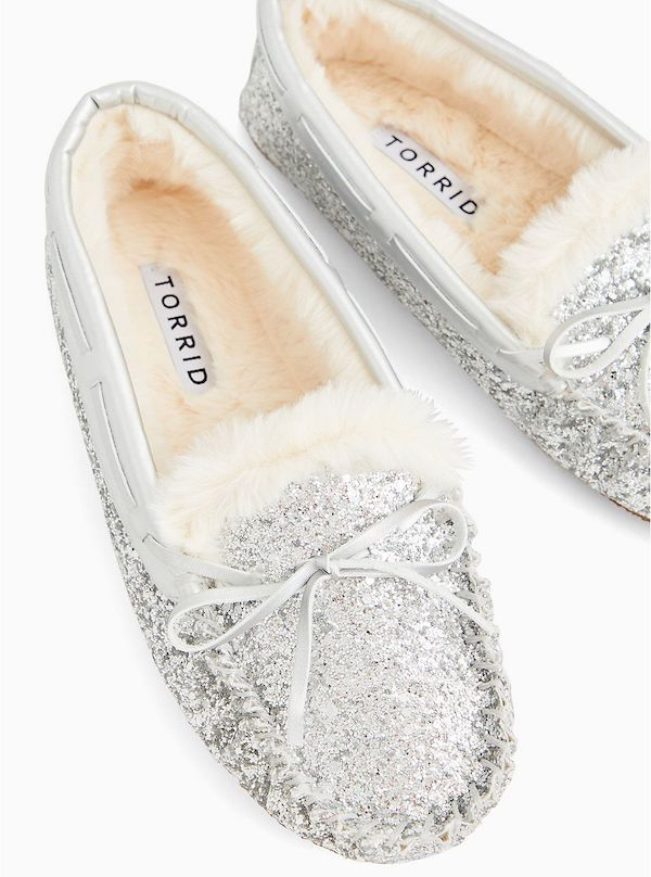 Sparkly silver wide-fit slippers.