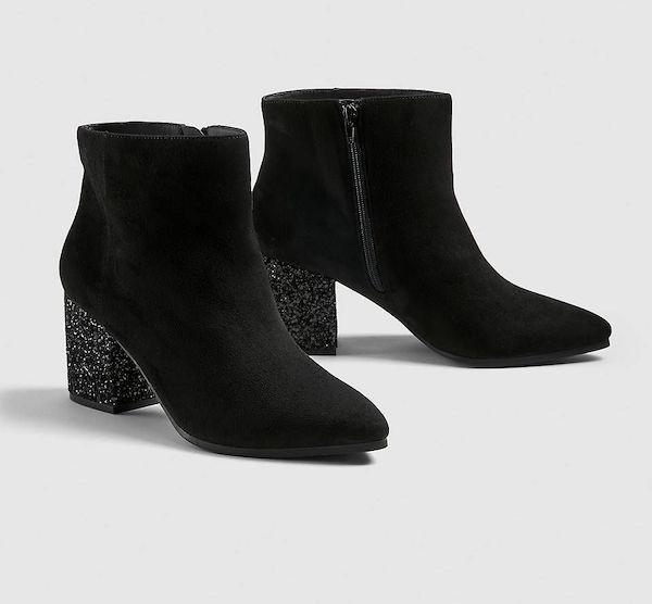 Sparkly black heeled booties.