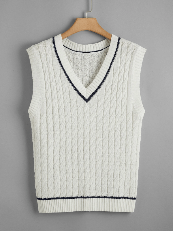 A plus-size sweater vest in white.