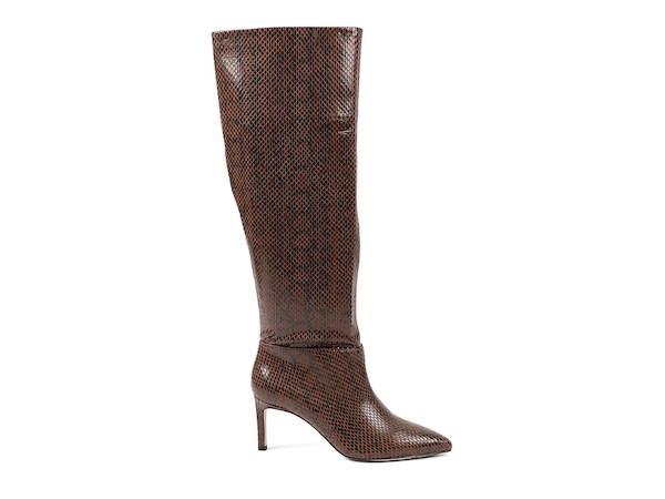 Wide-calf knee-high boots in brown.
