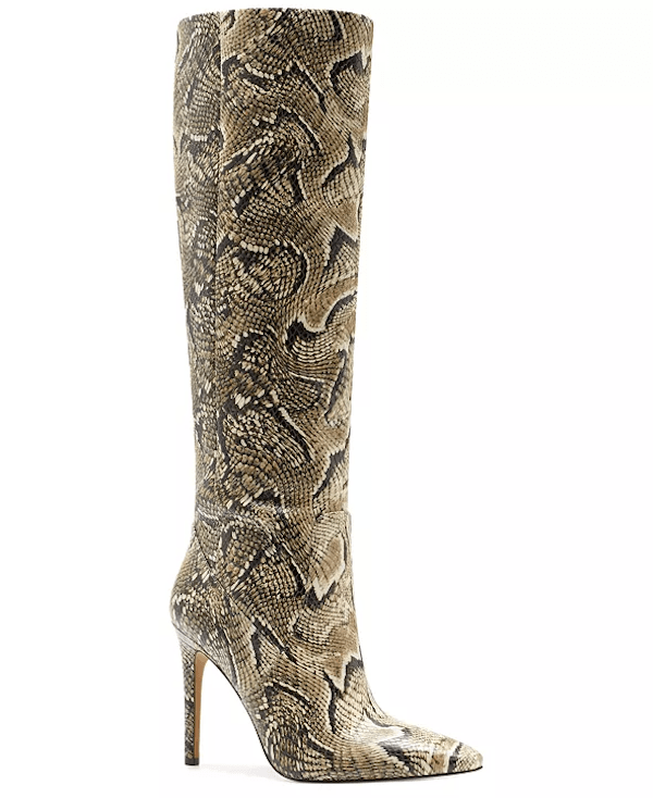 Wide-calf knee-high boots in snake print.