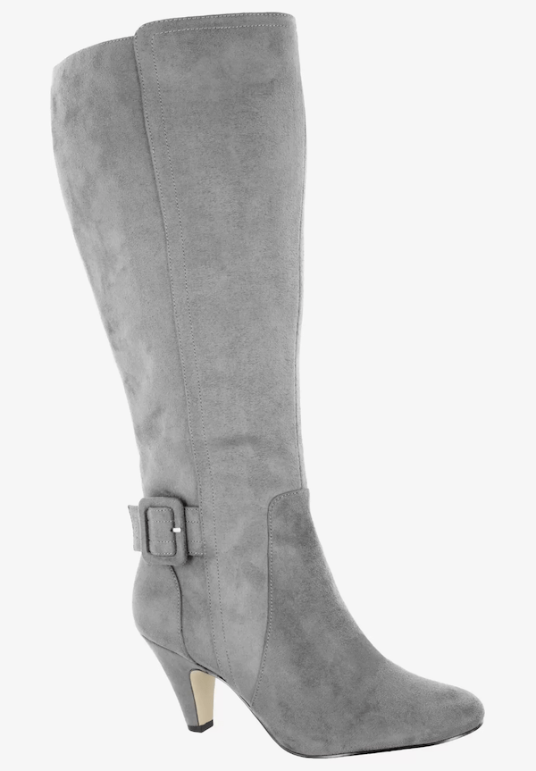 Wide-calf knee-high boots in gray.