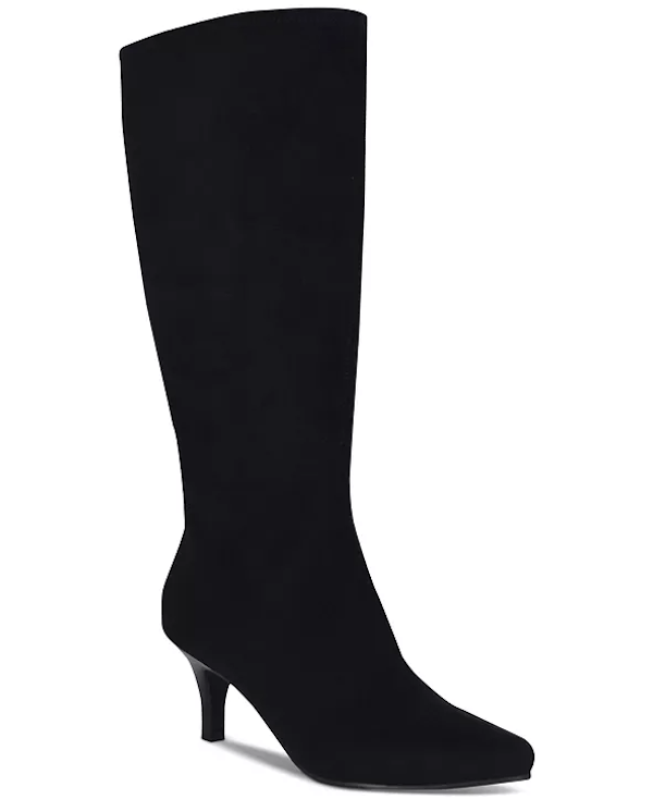 Wide-calf knee-high boots in black.