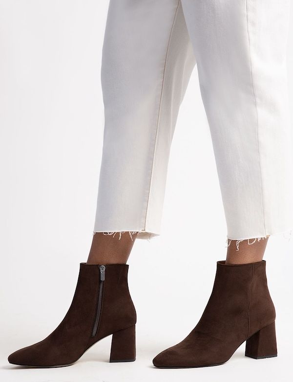 Wide-fit ankle boots in brown.