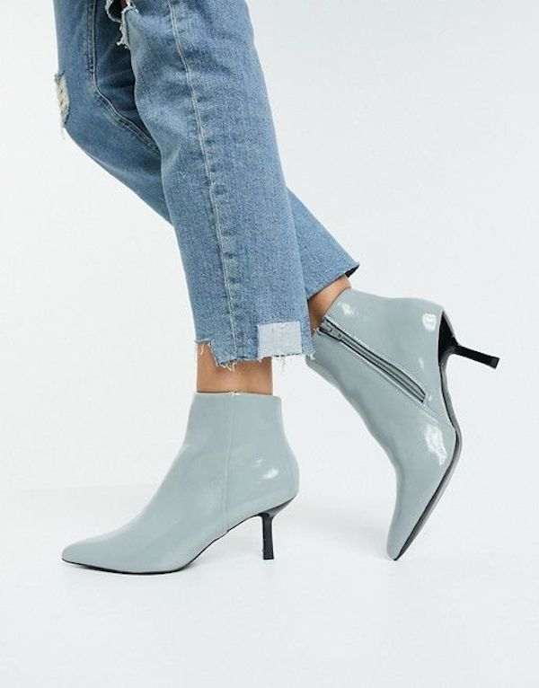 Wide-fit ankle boots in light blue.