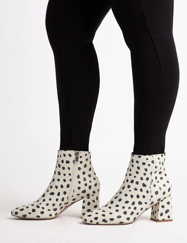 Wide-fit ankle boots in black and white polka dot.