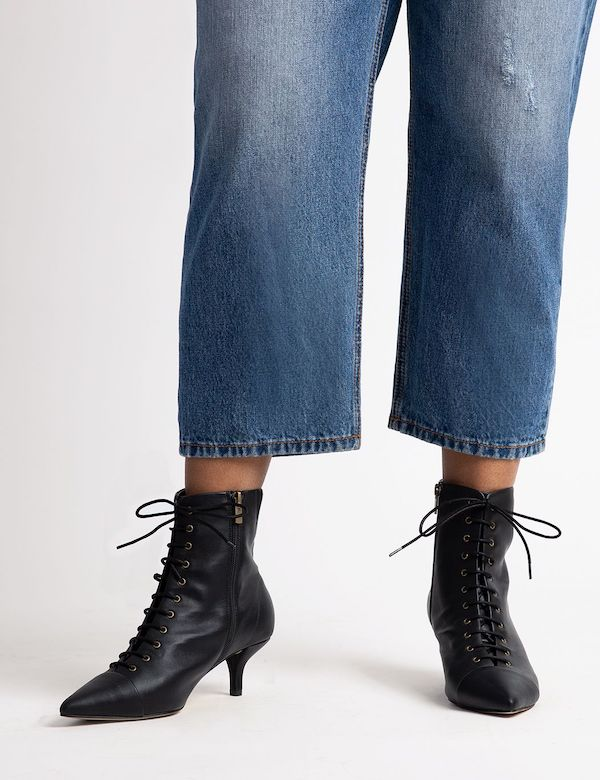 Wide-fit ankle boots in black.