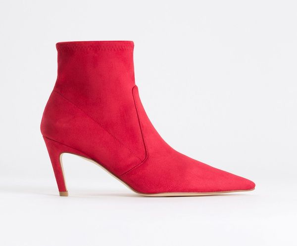 Wide-fit ankle boots in red.