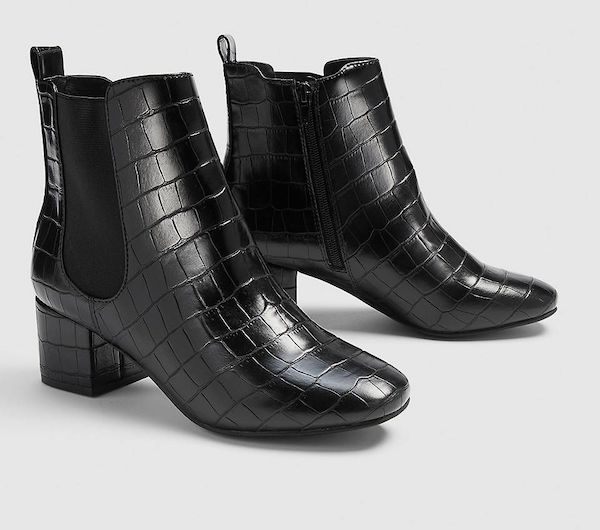 Wide-fit Chelsea boots in black croc.