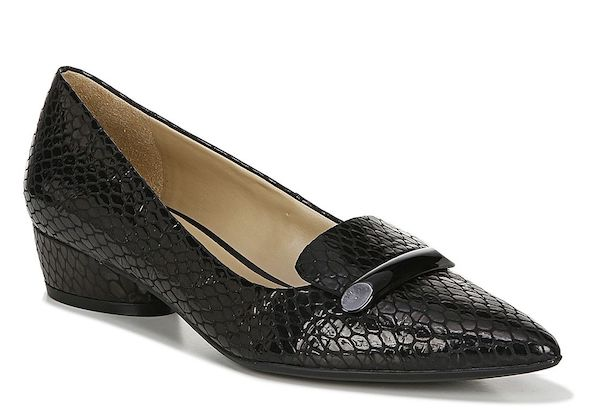 Black heeled wide-fit loafers.