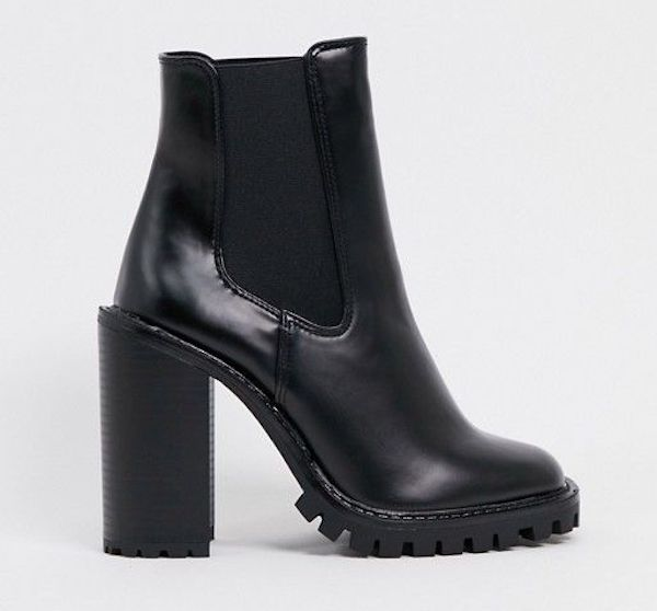 Black heeled wide-fit booties.
