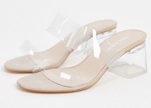 White and clear wide-fit heels.