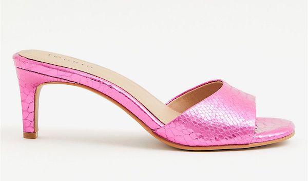 Pink wide-fit heeled mules.