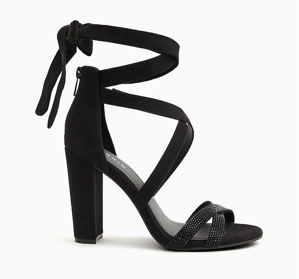 A pair of black wide-fit strappy heels.
