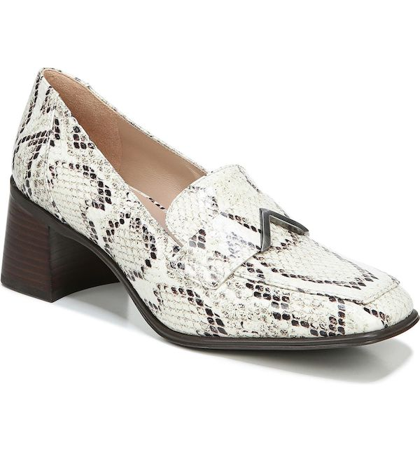 Wide-fit loafers in white snake print.