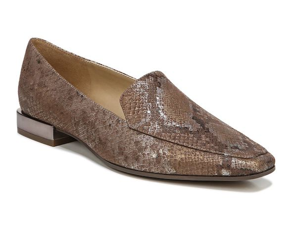 Wide-fit loafers in snake print.