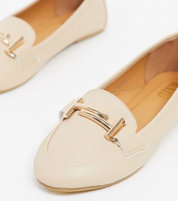 Wide-fit loafers in cream.