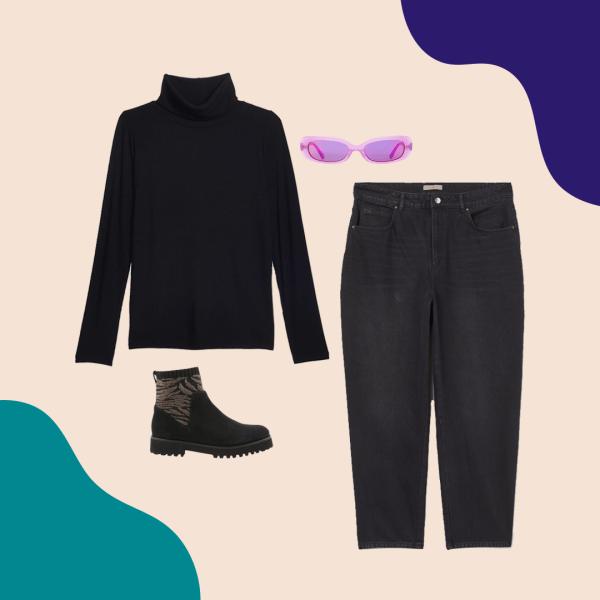 A black turtleneck, black booties, black jeans, and purple sunglasses.