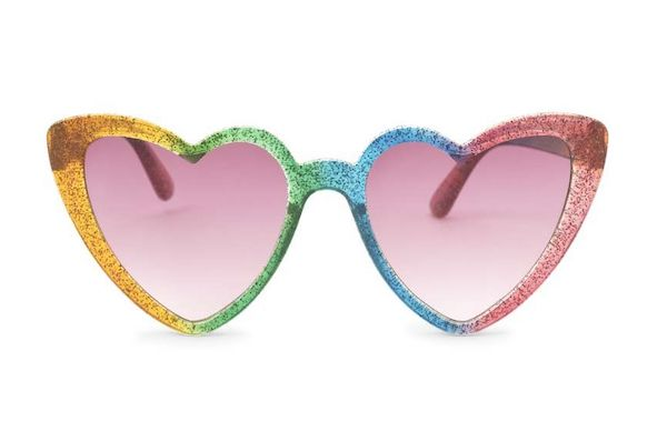 A pair of heart-shaped sunglasses in rainbow.