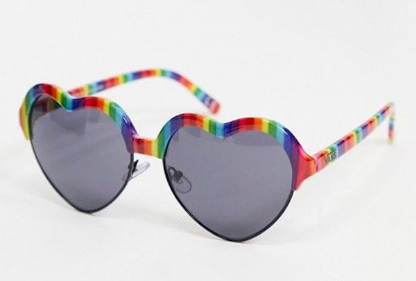A pair of heart-shaped sunglasses in black and rainbow.
