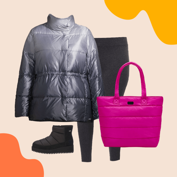 Ombre gray puffer coat, pink puffer bag, black puffer shoes, and leggings.