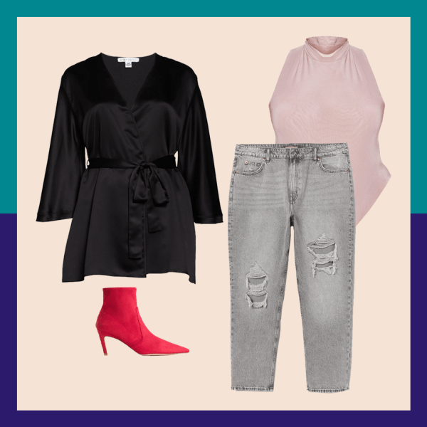 A black robe, gray jeans, red booties, and pink bodysuit.