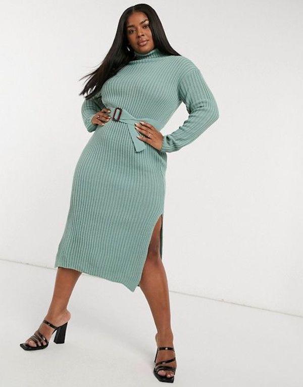A model wearing a plus-size sexy winter dress in mint green.