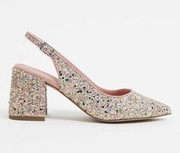 A pair of wide-fit block heels in glitter.