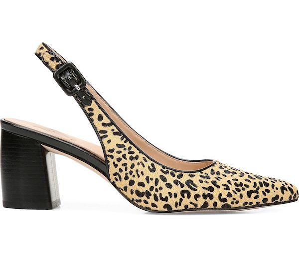 A pair of wide-fit block heels in leopard print.