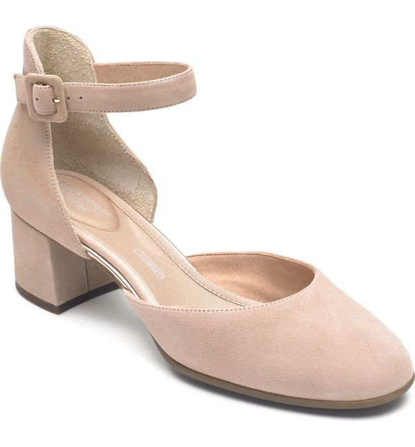 A pair of wide-fit block heels in light pink.