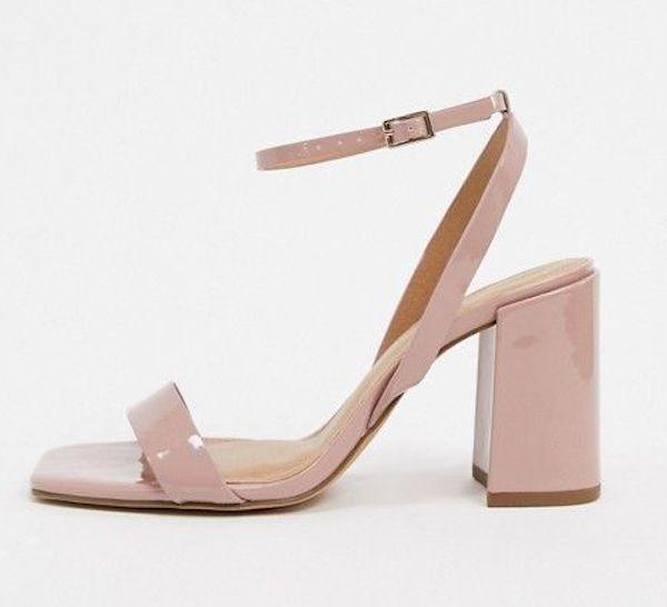 A pair of wide-fit block heels in pink.