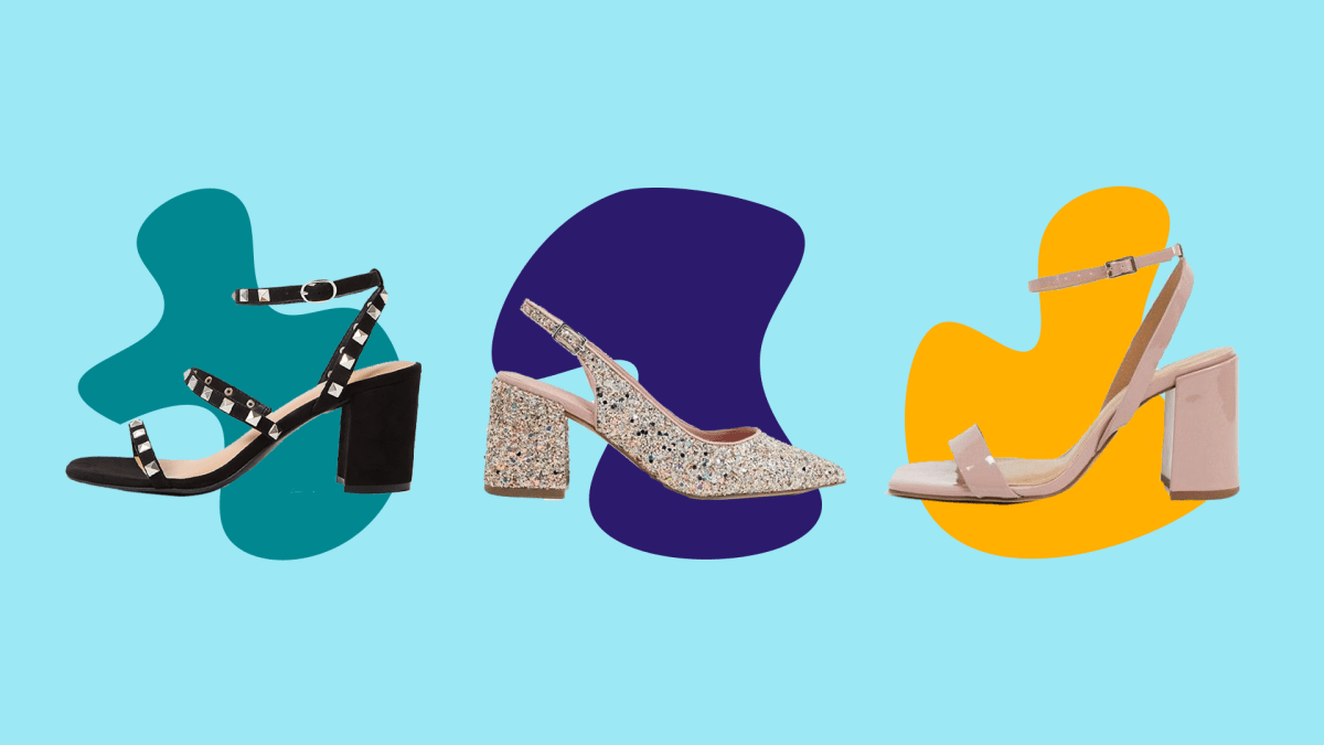 Three pairs of wide-fit block heels.