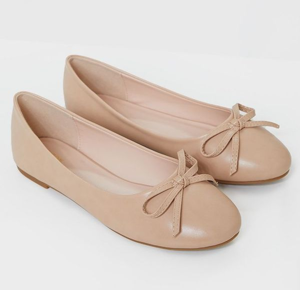 Wide-fit flats in beige.