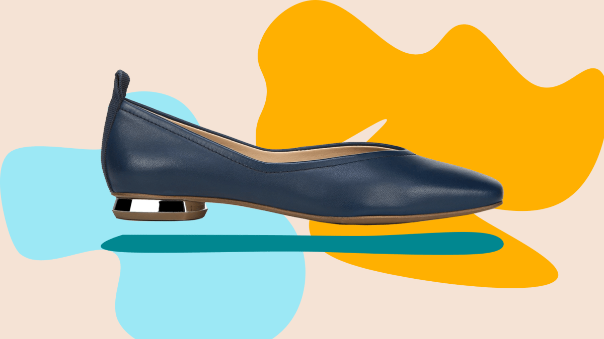A wide-fit navy flat shoe.