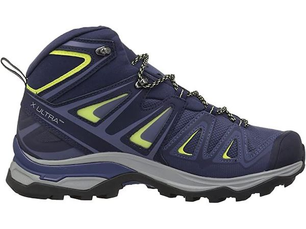 Wide-fit hiking boot in blue and green.