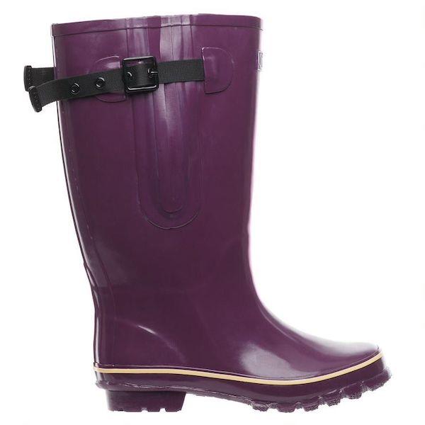 Wide-calf rain boots in purple.