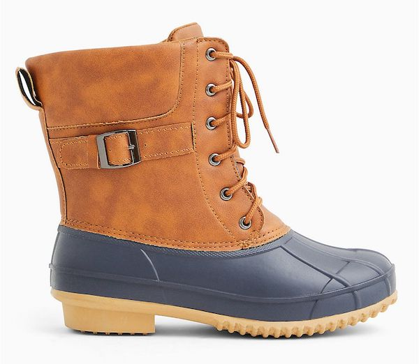 Wide-fit rain boots in brown and blue.