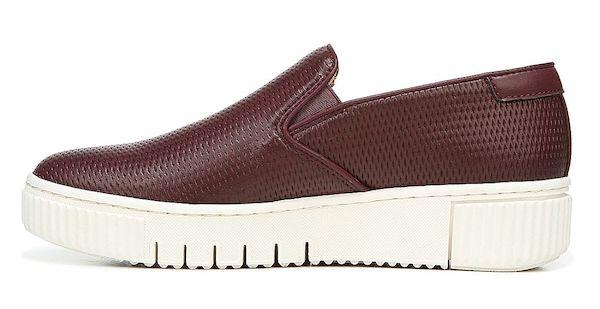 Wide-fit slip-on sneakers in dark red.