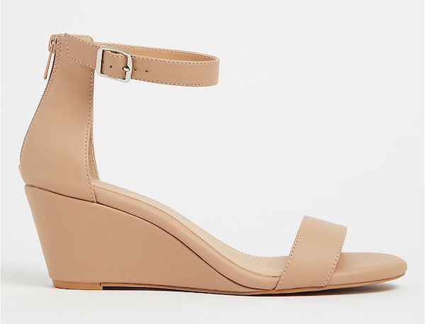 A pair of wide-fit wedges in beige.