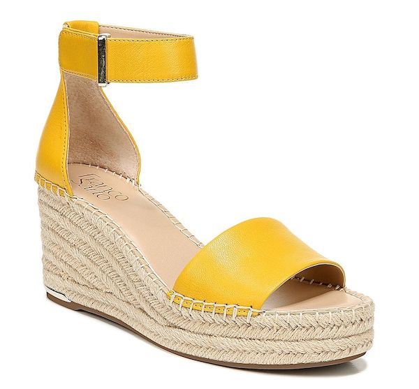 A pair of wide-fit wedges in yellow.