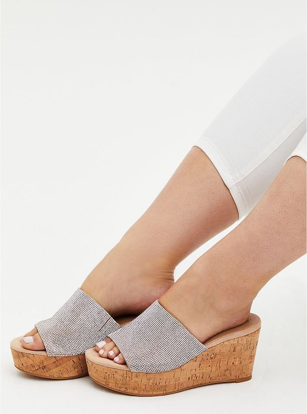 A pair of wide-fit wedges in silver.