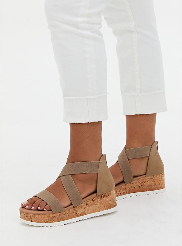 A pair of wide-fit wedges in brown.