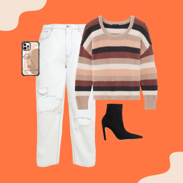 White jeans, striped sweater, black heeled booties, and a phone case.