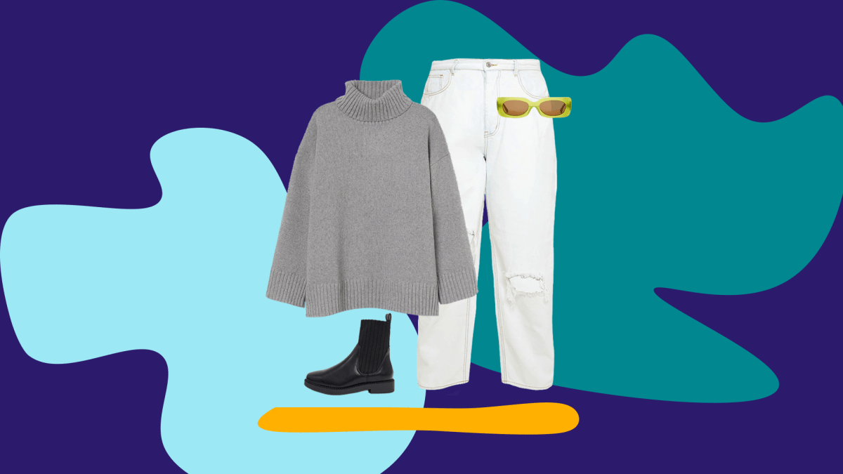 White jeans, gray sweater, black booties, and green sunglasses.