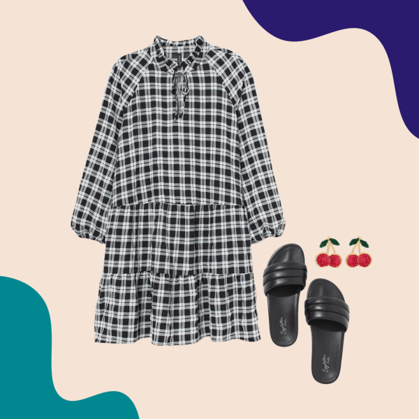 A black and white gingham dress, black slide sandals, and cherry earrings.