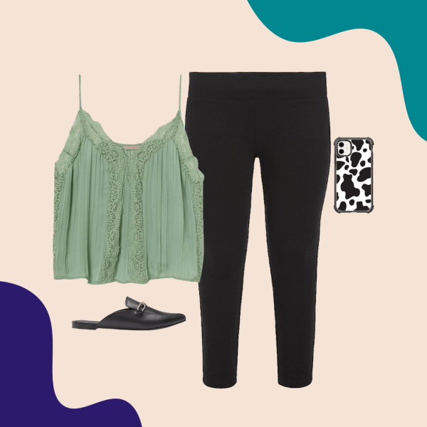 A green camisole, black pants, cow print phone case, and black mules.
