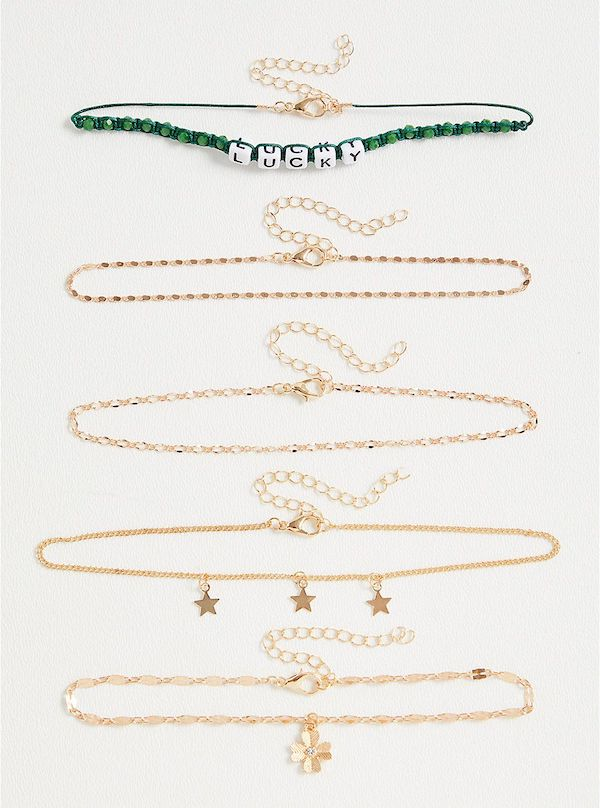 A set of five plus-size anklets.
