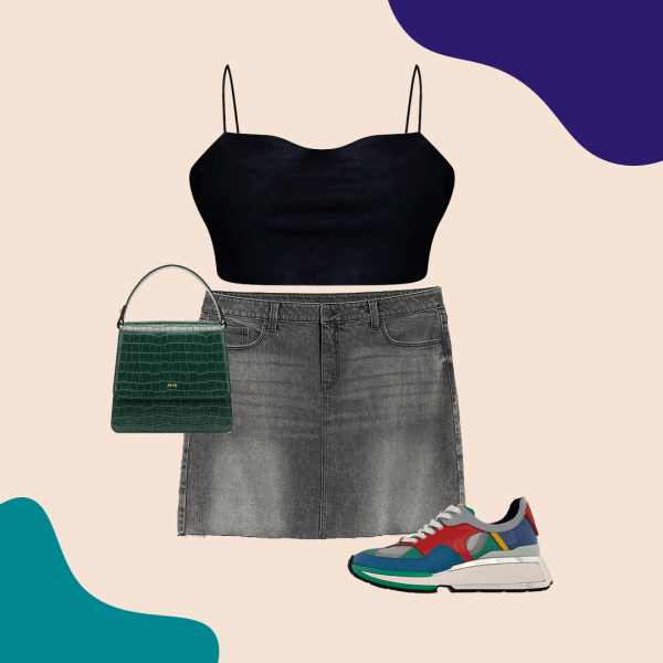 A collage with a black crop top, denim skirt, colorful sneakers, and green purse.