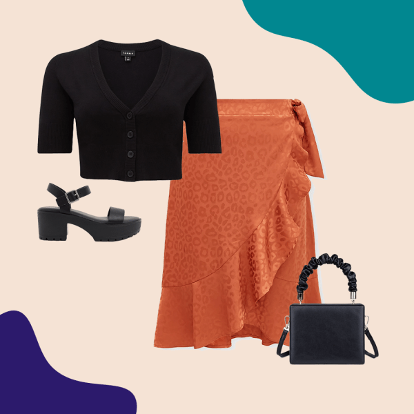A collage with a black crop top, orange skirt, black heels, and black purse.